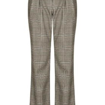Slouchy Check Tailored Suit Trousers - Brown