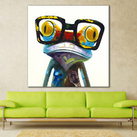 Cartoon Oil Painting on Canvas Abstract Animal Wall Art for Home Decoration 1pc Happy Frog 5cm strecth no frame