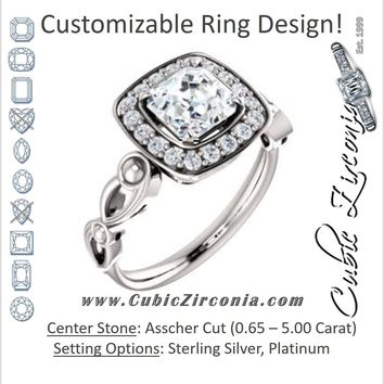 Cubic Zirconia Engagement Ring- The Deb (Customizable Asscher Cut Design with Large Halo, Fleur-de-lis Trellis and Bubbled Infinity Band)