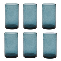 TAG 555413 Teal Bubble Glass Tumbler, Set of 6