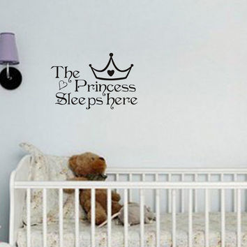 The Princess Sleeps Here Wall Decals Home Decor Wall Art Quote Bedroom Wallpaper Wall Sticker