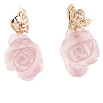 ROSE DIOR PRE CATELAN Earrings in 750/1000 pink gold and pink quartz