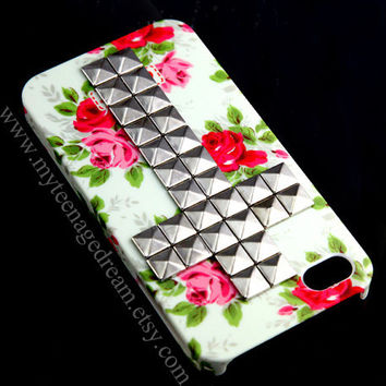 Iphone 4 Case, iphone 4s case Silver Cross pink Flower Rose white Case----for Apple iPhone Case 4, iPhone Case 4s, iPhone 4 Hard Case
