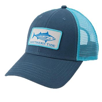 Fish Series Yellowfin Tuna Patch Trucker Hat in Light Indigo by Southern Tide