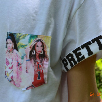 Beyonce and Nicki Minaj Pocket Tee FREE SHIPPING