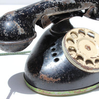 Vintage Tin Telephone Black Rotary Phone