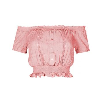 LE3NO Womens Off shoulder Boho Ruffle Trim Crop Top