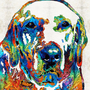 Labrador Retriever Art Colorful Lab Dog PRINT from Painting Rainbow Pet Doggie Toy Hunting Pop CANVAS Ready Hang Large Fun Cute Love Animal