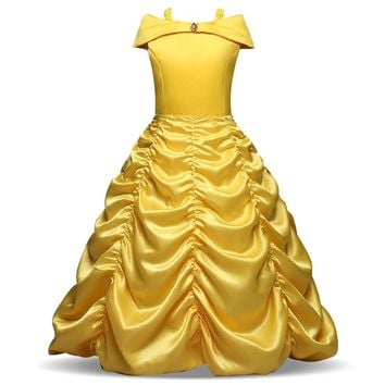 New 2018 Kids Girl Beauty and beast cosplay carnival costume kids belle princess dress for Christmas Halloween Dress For 3-10yrs