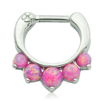 5 Pronged Pink Fire Opal Septum Clicker