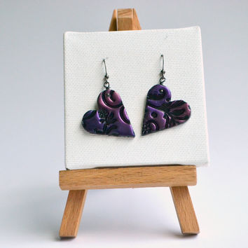 Heart stamped floral earrings - polymer clay earrings