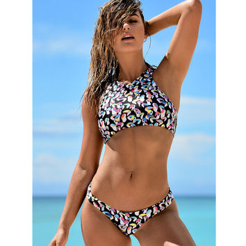 2017 Brazilian High Neck Swimsuit Reversible Bikini Crop Top Swimwear Women Print Tankini Set Lady Beach Swim Wear Bathing Suit