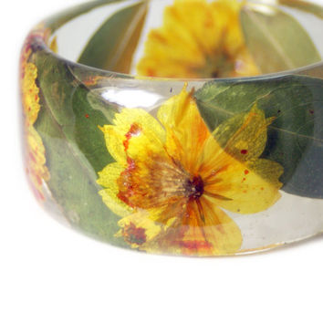 Orange Bracelet- Green Bangle- Orange Flower Jewelry- Resin Jewelry- Yellow Flower Bangle- Green Resin Bracelet