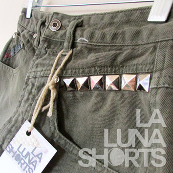 Military Olive Green Studded High Waisted  Shorts by LaLunaShorts