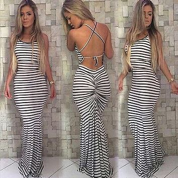 Women Summer Vintage Boho Striped Long Maxi Evening Party Beach Dress Backless Strap Sundress Women clothes