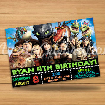 How To Train Your Dragon Design Invitation - Digital File