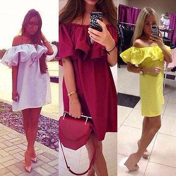 Hot Sale WOMENS BOHO SOLID RUFFLE SLEEVE OFF SHOULDER MINI DRESS TUNIC SUMMER BEACHPLFL