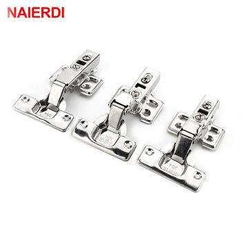 4PCS NAIERDI-C Serie Hinge Stainless Steel Door Hydraulic Hinges Damper Buffer Soft Close For Cabinet Kitchen Furniture Hardware