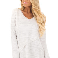 Off White with Grey Striped Asymmetrical Long Sleeve Top