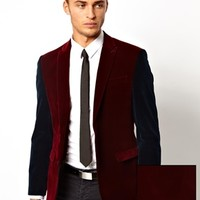 ASOS Slim Fit Blazer In Cut And Sew Velvet