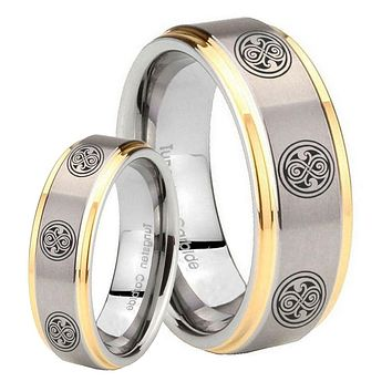 His Hers Step Edge Multiple Doctor Who 14K Gold 2 Tone Tungsten Wedding Rings Set