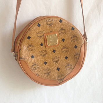 Vintage MCM Bag / Round MCM Tan Purse / MCM Handbag / Vintage Leather Shoulder Bag