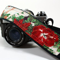 dSLR Camera Strap, Christmas, with Pocket, Amaryllis, Winter , Red Flowers, Green