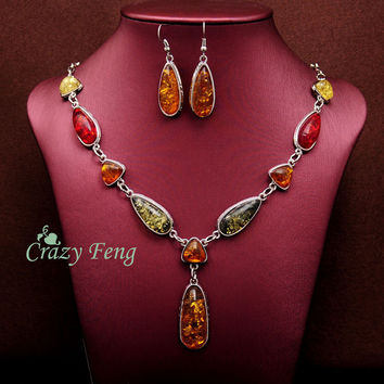 Women's Vintage Retro 18k Gold Plated Amber African Jewelry Sets Necklace + Earrings Wedding sets Free shipping