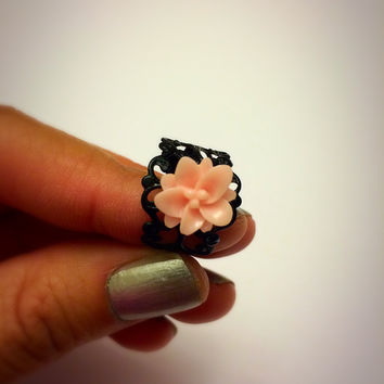 Pink Lotus Filigree Black Ring Floral Adjustable Statement Ring