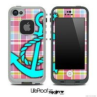 Pink Plaid Print and Turquoise Anchor Skin for the iPhone 5 or 4/4s LifeProof Case