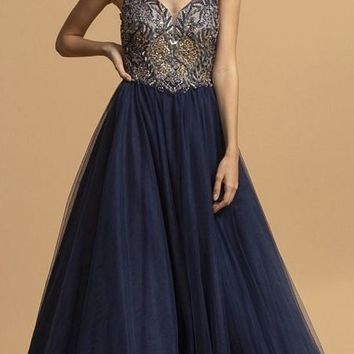 Beaded Bodice A-Line Long Prom Dress Navy Blue