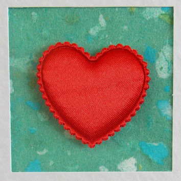 I Love You Card, blank, birthday, wedding, engagement, anniversary, red heart on turquoise, contemporary, modern, with envelope, no message