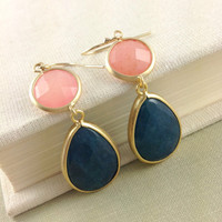Navy Blue, Pink ,Coral Earrings, Bridesmaid Gift, Bezel, Framed Stone, Gold Filled Earwire, Christmas Gift, Birthday Gift