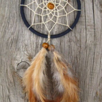 Dark Blue Car Dream Catcher // Small Dark Blue Dream Catcher // Rear Mirror Dreamcatcher //Native American Hanging