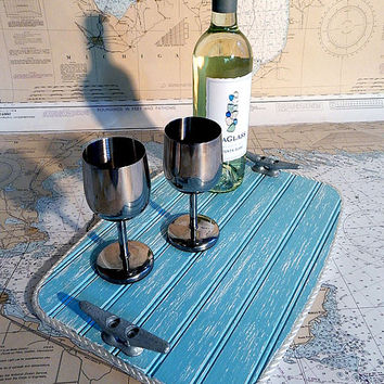 Wood Serving Tray - Beverage Tray - Galvanized Boat Cleat - Beach Decor - Nautical Beach House - Serving Board - Housewares Gift - Boat Rope