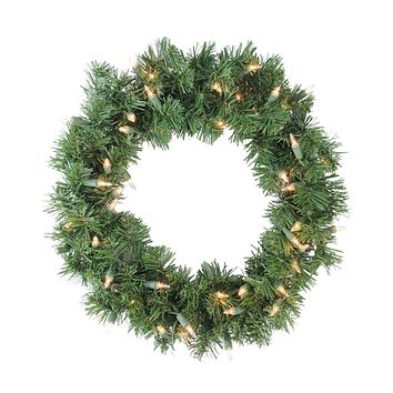 "16"" Pre-Lit Deluxe Windsor Pine Artificial Christmas Wreath - Clear Lights"