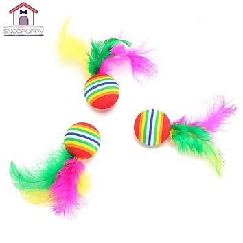 Cat Dog Toys For Cats Scratch Dog Chew Toy  Colorful Eva Balls For Cat Have Fun With Feather Crazy Toys For Kitten Puppy SJ0009