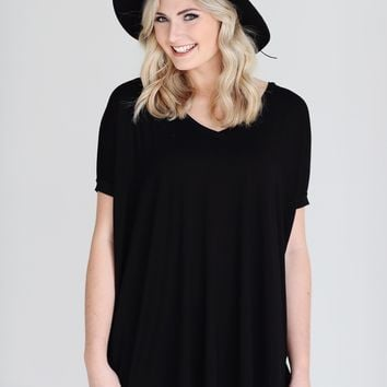 Black PIKO V-Neck Short Sleeve Tunic