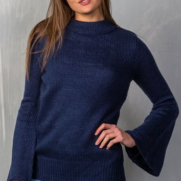 Mock Neck Flare Sleeve Knit Sweater