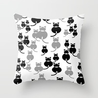 Fat Cats 1 Throw Pillow by mirimo