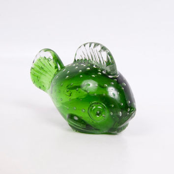 Vintage Murano Green Glass Fish Paperweight Controlled Bubbles Hand Blown Italian Art Glass Opaque Sculpture