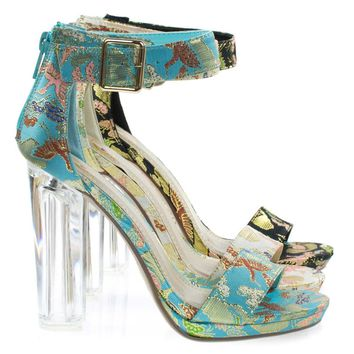 Cargo Blue Phoenix Print By Delicious, Lucite Perspex Clear Block Heel Sandal, Stitch Embroidery