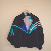 90's Windbreaker  Turquoise Black White Jacket Coat Men's  Large L  Hipster Preppy Style Active wear Sports Wear Parachute 80s  Club