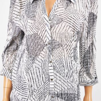 JM Collection Women Black Crinkled Sequined Button Down Shirt Top XL