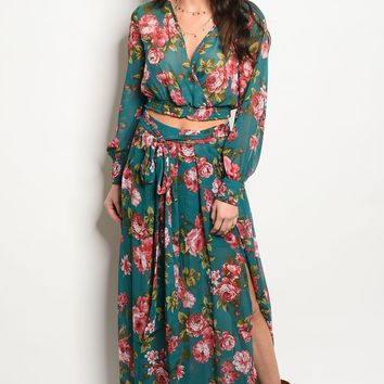 Ladies fashion long sleeve floral print chiffon set with a maxi skirt and matching top with a v neckline