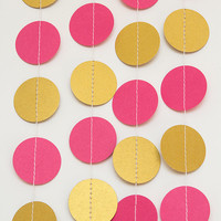 Paper garland bunting, wedding garland decor, circle garland, party home decor, nursery banner, nursery garland, photo backdrops gold pink