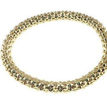 Mesh Chain Stretch Multilayer Bangles 12K Gold Filled and 925 Sterling Silver Filled for Women Girls Men