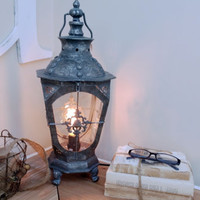 Gray Metal lamp old world style lantern antique looking Edison style bulb Victorian light shabby chic lighting rustic photo prop