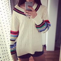 Twisted Women's Fashion V-neck Pullover Gradient Stripes Split Sweater [9255938695]