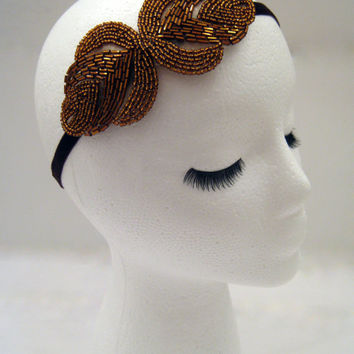 The Rita - bronze art deco headpiece, bronze 1920s hairpiece, bronze Gatsby hair style, Prohibition party, bronze gold 1930s headband